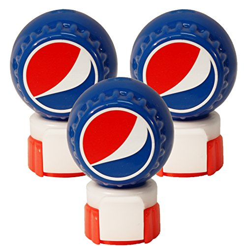 Jokari 3 Count Pepsi Modern Logo Fizz Keeper Soda Bottle Pump and Pour, Red/White/Blue