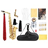 Vbestlife Alto Saxophone – Standard EB Alto Saxophone E Flat Brass Sax Beginners Kit, with Carrying Case - Cork Grease - Neck Strap - 10 Saxophone Reeds, Silver or Gold (Gold)