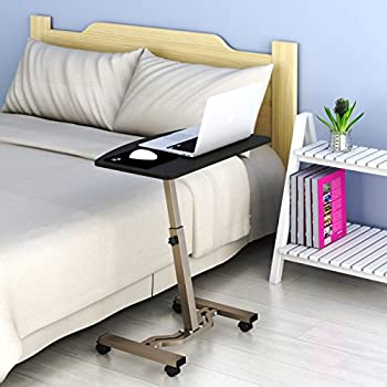 SHW Height Adjustable Mobile Laptop Stand Desk Rolling Cart