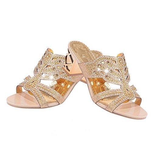 Chaussures Sandales Bohême Style Hauts À Pantoufles Antidérapant Été Strass Talons Talons Or Homebaby Rose sandales Femmes Babyhome HzqYwPH