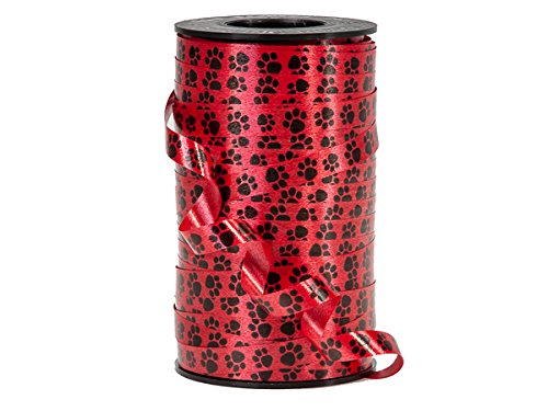 """Pack Of 1, Paw Prints On Red Curling Ribbon 3/8""""X 250 Yards 100% Polypropylene For All Occasions & Seasonal Celebrations"""