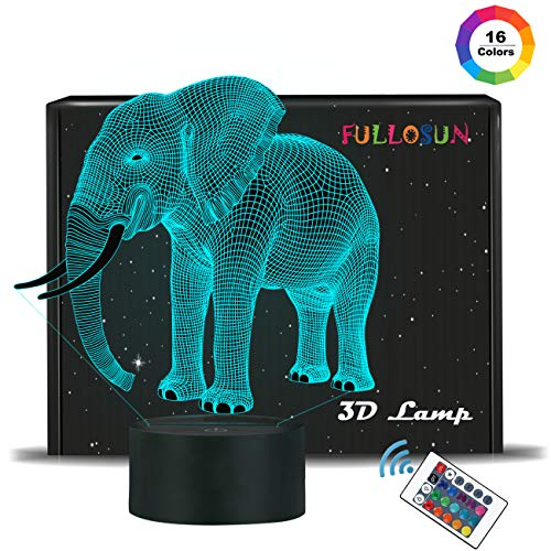 FULLOSUN Elephant Gifts, 3D Night Light for Kids 16 Colors Changing 3D Illusion lamp with Remote Control & Smart Touch, Child Xmas Birthday Gifts for Boys Age 2 3 4 -