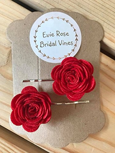 5fca5a599 Image Unavailable. Image not available for. Colour: Set of two red felted rose  floral hair clip bows pins hair accessories wedding bridal bridesmaids