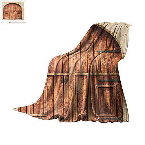 """Rustic Throw Blanket Traditional Oak Crafted Doorway on Stone Facade Artisan Hand Made Features Culture Print Artwork Image 90""""x70"""" Cream Brown"""