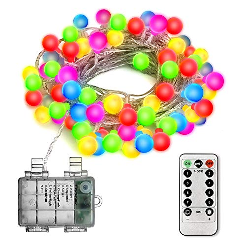 Virwir LED String Lights for Decorate, 50LED 16ft Indoor String Light Christmas Lamp Waterproof Ball Lights,8 Lighting Modes and Remote Control -