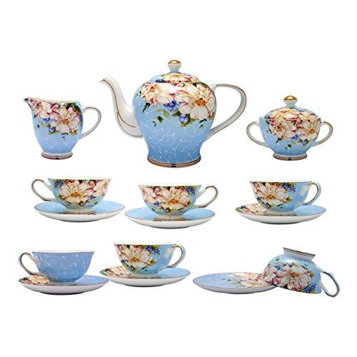 TransSino Treasures Fine Bone China 15 Piece Coffee Set High Capacity Floral Motif in (Fine Bone China Tea Set)