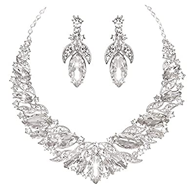 Youfir Austrian Rhinestone Teardrops Necklace and Earrings Jewelry Sets for Women Wedding Party Dress