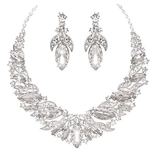 Youfir Austrian Rhinestone Teardrops Necklace and Earrings Jewelry Sets for Women Wedding Party Dress