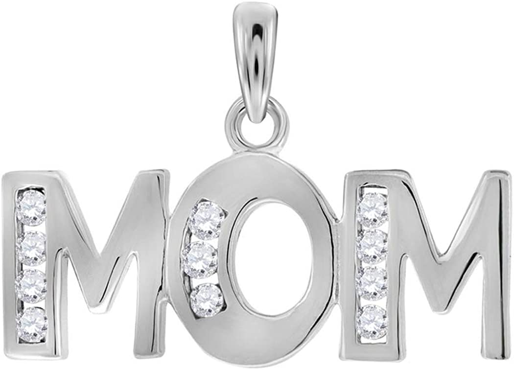 925 Sterling Silver Womens Round CZ Cubic Zirconia Simulated Diamond Mom Charm Pendant Necklace Jewelry Gifts for Women