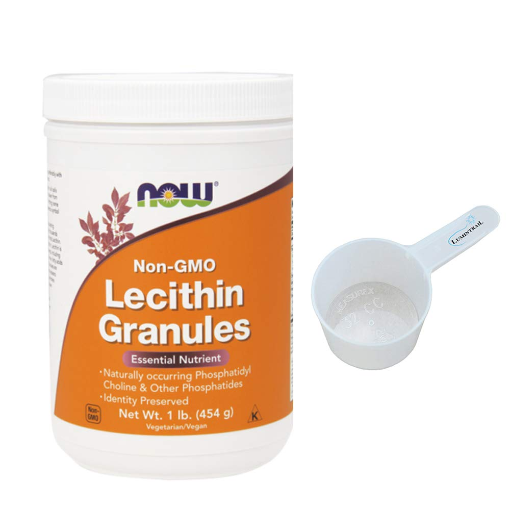 Now Lecithin Granules Non-GMO, 1 Pound Bundle with a Lumintrail 32cc Scoop
