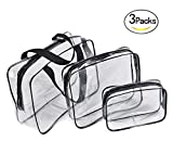 Healthcom 3 in 1 Makeup Bags & Cases Plastic Travel Tolietry Bag Clear PVC Tolietry Travel Bag Organizer for Men and Women