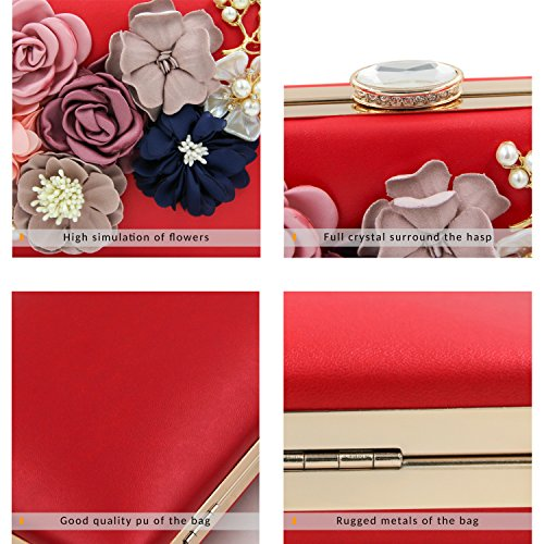 Purse Milisente Evening Bag Red Handbag Women Clutch Flower Wedding rw1qr0R