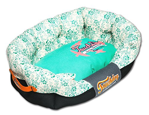 TOUCHDOG 'Floral-Galoral' Ultra-Plush Rectangular Rounded Fashion Designer Pet Dog Bed Lounge, Large, Turquoise Blue, Cream White