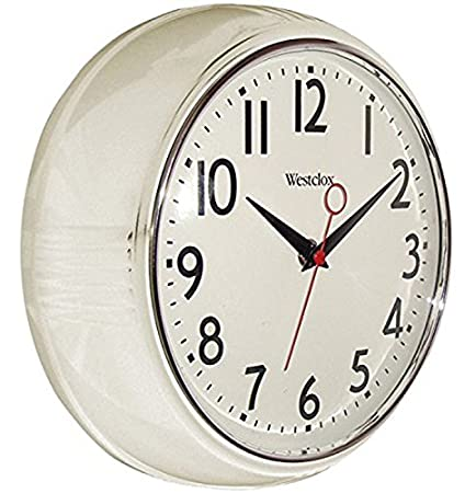 Charmant Westclox 32042W Retro Wall Clock, White, 9.5u0026quot;