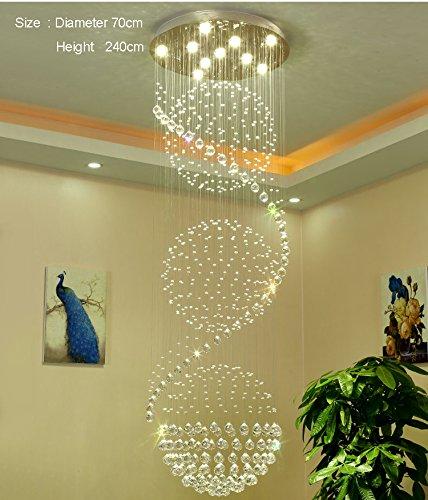 Phube Lighting Spiral Foyer Stair Crystal Chandelier Light Lighting ...