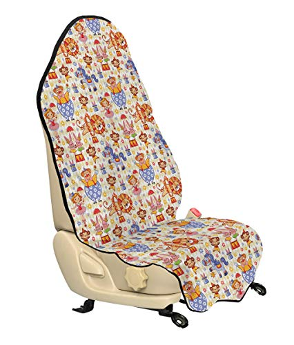 Ambesonne Kids Car Seat Cover, Carnival Circus Theme with Cheerful Mascots Monkey Lion Bunny Acrobat Girl and Clown, Car and Truck Seat Cover Protector with Nonslip Backing Universal Fit, Multicolor ()