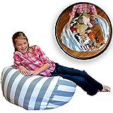 Demana - Pouf en forme de poire - Sac de rangement pour jouet, Toile, gris, Taille L