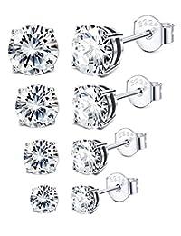 Sllaiss 3-6MM Sterling Silver Cubic Zirconia Stud Earrings for Women Men Round Cut CZ Earrings Set Hypoallergenic