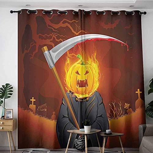 Onefzc Doorway Curtains,Halloween Decorations Pumpkin Grim Head Burning