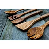 Olive Wood 5 Piece Kitchen Cutlery Utensil Set - Length 35cm by The Rustic Dish