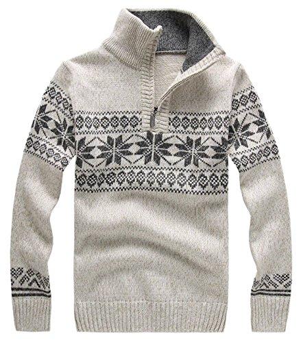 DigerLa Men's Fashion Quarter Zip Long Sleeve Knit Sweaters Pullover