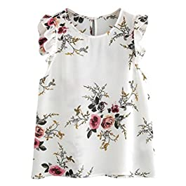 UONQD Woman Women Floral Print Butterfly Sleeve Blouse Crop Tops Vest Tank Chiffon T Shirt