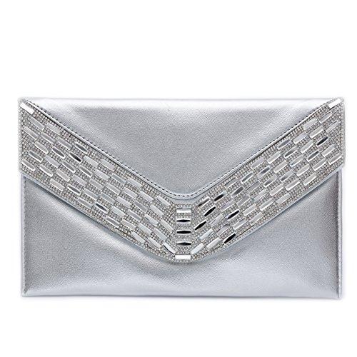 Women Faux Leather Evening Clutch Purse Crossbody Handbags Party Wedding Envelope (Clutch Silver Leather Handbags)
