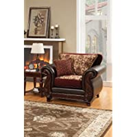 Furniture of America Kildred Fabric and Leatherette Chair, Burgundy Finish
