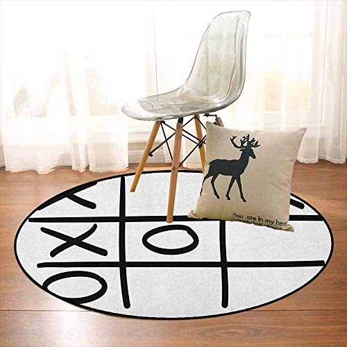 Xo Multifunctional Round Carpet Tic Tac Toe Pattern Unfinished Game Hobby Theme Alphabet Minimalist Artful Image for Bedroom Modern Home Decor D59 Inch Black and White ()