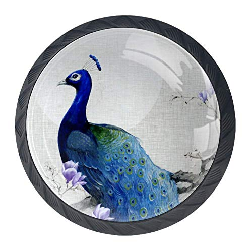 Idealiy Blue Peacock with Magnolia Drawer Knob Pull Handle Cupboard Knobs with Screws 4pcs