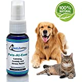 Natural Calming & Stress Relief Formula for Dogs & Cats. Pets-At-Ease quick Spray Relieves your Pet's Anxiety over Car Rides, Vet Visits, Thunder & Loud noises. Helps Separation Anxiety & Kenneling.