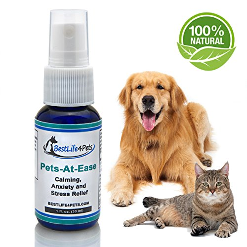 - Natural Calming & Stress Relief Formula for Dogs & Cats. Pets-At-Ease quick Spray Relieves your Pet's Anxiety over Car Rides, Vet Visits, Thunder & Loud noises. Helps Separation Anxiety & Kenneling.