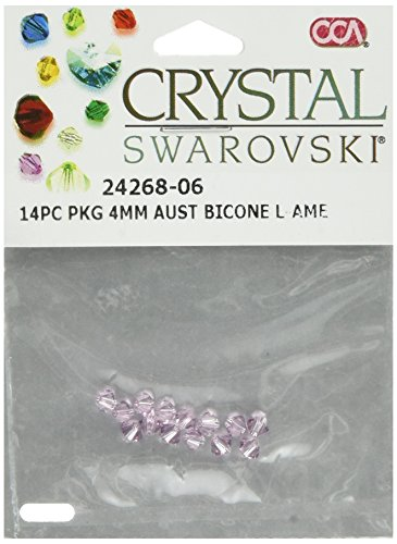 - Cousin 242BIC4-6806 Swarovski Crystal Bicone Beads, 14-Pack, 4-mm, Light Amethyst