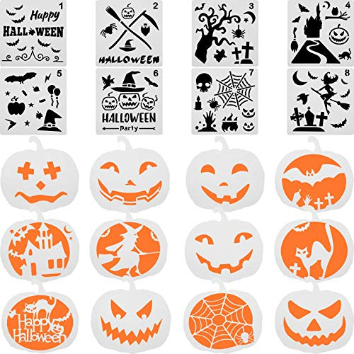 Halloween Bats Stencils (20 Pieces Halloween Stencil Set Plastic Drawing Templates Includes Sickle, Witch, Skeleton, Bat, Owl, Grave Pattern Stencils for DIY Craft)