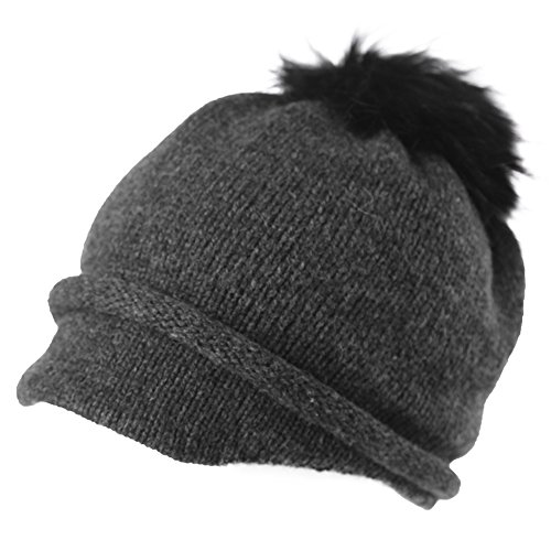 SIGGI Womens 100% Wool Knitted Hat with Visor Jeep Beanie Pom Cold Weather Winter Newsboy Cap ()