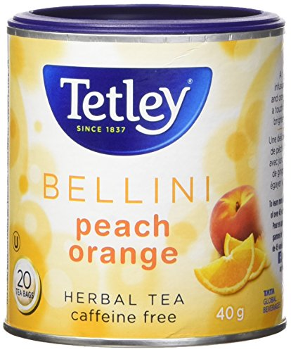 Tetley Bellini Peach Orange Herbal Tea Caffeine Free 20 Round Tea Bags