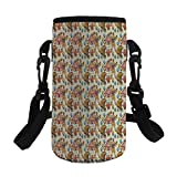 Small Water Bottle Sleeve Neoprene Bottle Cover,Vintage Style Bear Rigdding on a Bicycle Strongman,fit for Stainless Steel/Plastic/Glass Bottles