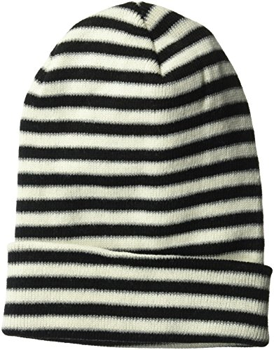 White Striped Beanie (D&Y Women's Striped Cuffed Beanie Hat, Black, One Size)