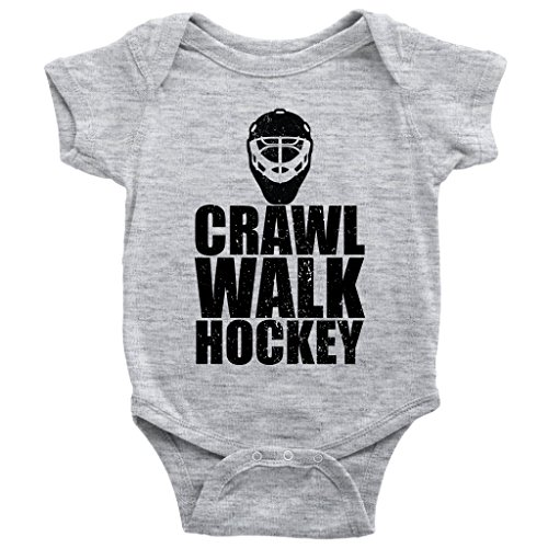 Teehub Crawl Walk Hockey Onesie Future Player Ice Skating Sports Baby Bodysuit (Heather Grey, 18M)