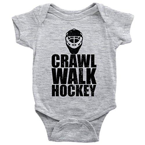 Teehub Crawl Walk Hockey Onesie Future Player Ice Skating Sports Baby Bodysuit (Heather Grey, 18M)