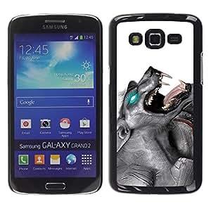 Caucho caso de Shell duro de la cubierta de accesorios de protección BY RAYDREAMMM - Samsung Galaxy Grand 2 SM-G7102 SM-G7105 - Glowing Werewolf