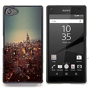 For Sony Xperia Z5 Compact Z5 Mini (Not for Normal Z5) Case , York City Lights Rascacielos - Diseño Patrón Teléfono Caso Cubierta Case Bumper Duro Protección Case Cover Funda