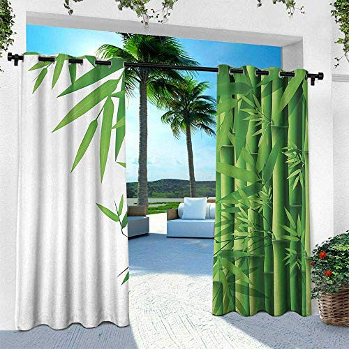 Hengshu Bamboo, Balcony Curtains,Modern Image of Fresh Bamboo Stems Leaves with Colors Exotic Nature Themed Print, W84 x L96 Inch, Green White