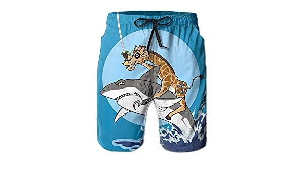 AA WIU Pirate Giraffe Riding Shark Mens Funky Quick Dry Swim Trunk Drawstring Surf Board Shorts Swimsuit