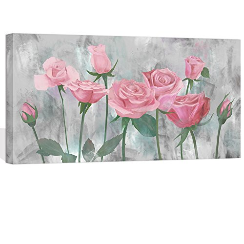 Visual Art Decor Flowers Wall Decor Retro Pink Blooming Rose on Grey Painting Picture Prints Canvas Wrap Floral Art Decal Coffee Shop Dining Room Bedroom Wall Decoration (01 Pink, 20
