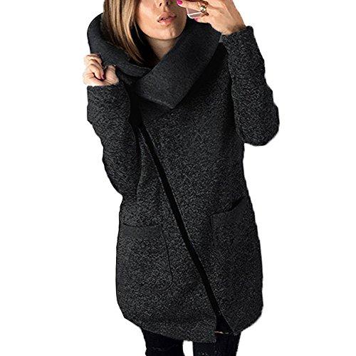 Gris con para Mujeres otoño Cremallera invierno BAINASIQI Larga Chaqueta de Oblicua Gran Sudadera Oscuro Abrigo el Hoodie Tamaño Cálido qTdwwHtO