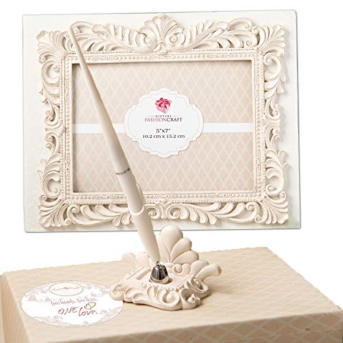Silver Leaf Guest Book - Fashioncraft Vintage Design Wedding Guest Book with Pen and Holder Accessories Set, Baroque Antique Ivory Design 50 Lined Pages for Guest Thoughts
