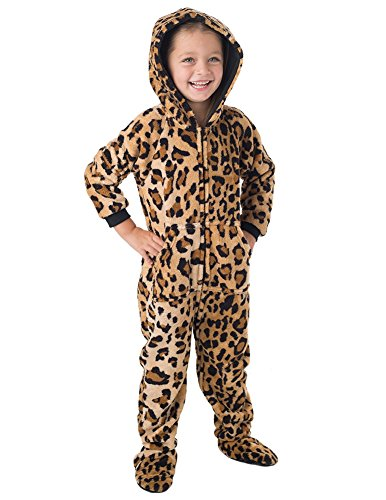 Footed Pajamas - - Cheetah Spots Toddler Hoodie Chenille Onesie - -