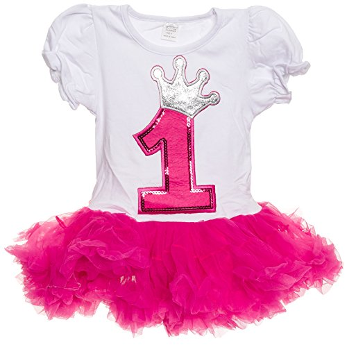 Silver Lilly Baby Girls Birthday Outfit - Cute 2-Piece Tutu Dress for Toddlers