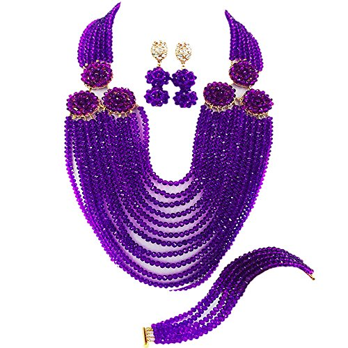 acuzv 12 Rows Beaded Strand Necklace African Beads Jewelry Set for Brides Bridesmaids Wedding Bridal Jewelry Sets (Purple)